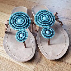 NINE WEST beaded sandals, size 7